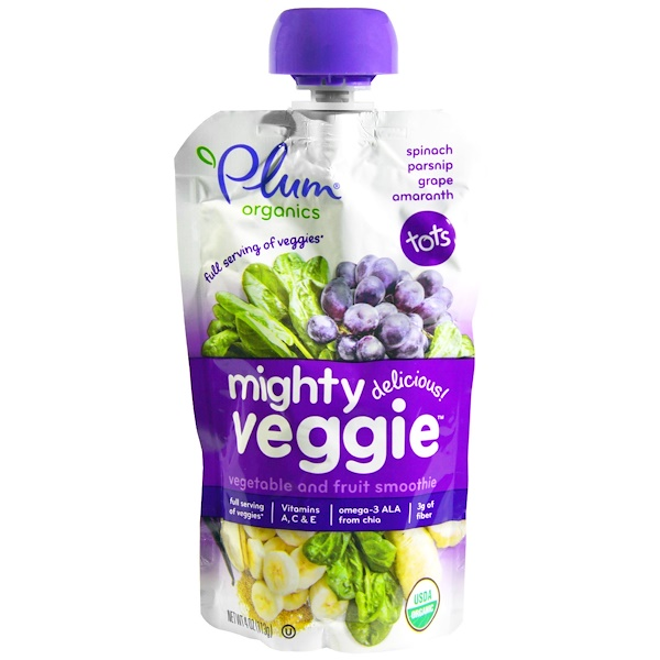 Plum Organics, Mighty Veggie, Veggie & Fruit Blend, 4 oz (113 g)