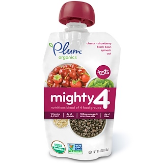 Plum Organics, Tots, Mighty 4, Nutritious Blend of 4 Food Groups, Cherry, Strawberry, Black Bean, Spinach, Oat, 4 oz (113 g)