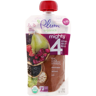 Plum Organics, Tots, Mighty 4, 4 Food Group Blend, Pear, Cherry, Blackberry, Strawberry, Black Bean, Spinach, Oat, 4 oz (113 g)