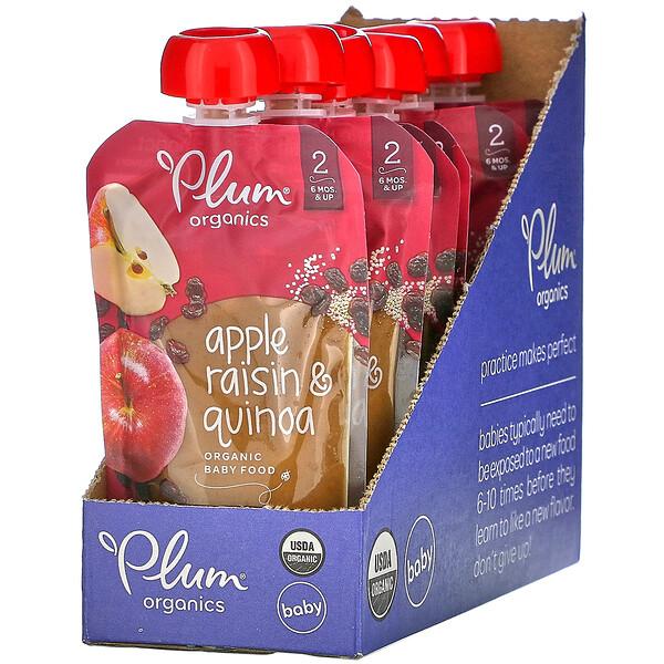 Plum Organics, Organic Baby Food, 6 Months & Up, Apple Raisin & Quinoa, 6 Pouches, 3.5 oz (99 g) Each