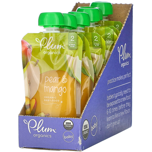 Plum Organics, Organic Baby Food,  Pear & Mango, 6 Pouches, 4 oz (113 g) Each