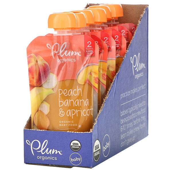 Plum Organics, Organic Baby Food, 6 Months & Up, Peach, Banana & Apricot, 6 Pouches, 4 oz (113 g) Each (Discontinued Item)