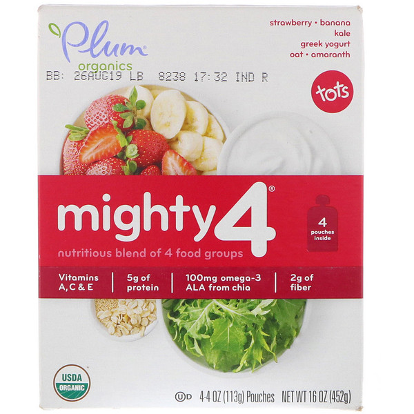 Plum Organics, Tots, Mighty 4, Nutritious Blend of 4 Food Groups, Strawberry - Banana, Kale, Greek Yogurt Oat, Amaranth, 4 Pouches, 4 oz (113 g) Each