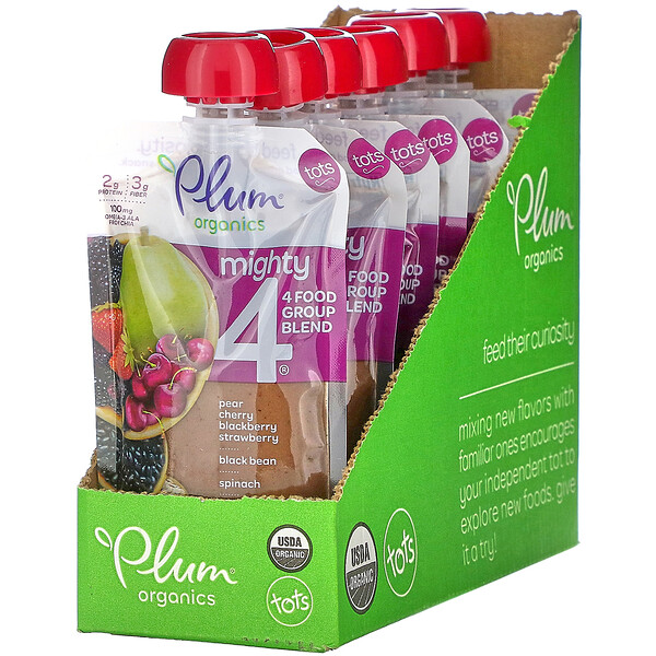 Plum Organics, Mighty 4, 4 Food Group Blend, Tots, Pear, Cherry, Blackberry, Strawberry, Black Bean, Spinach, Oat, 6 Pouches, 4 oz (113 g) Each
