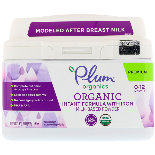Plum Organics, Organic Infant Formula With Iron Milk-Based Powder, 21 oz (595 g) (Discontinued Item)