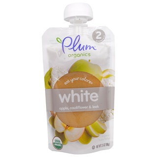 Plum Organics, イート・ユア・カラー、白:りんご、カリフラワー、西洋ネギ、99g