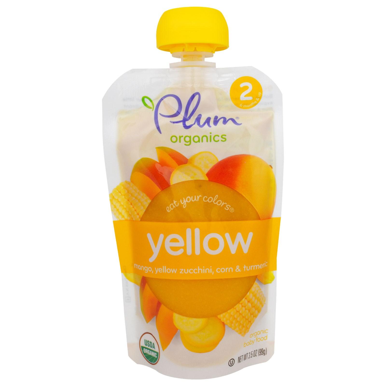 Plum Organics, Ешьте Ваши Цвета: Желтый - Манго, Желтый Цуккини, Кукуруза и Куркума, 3,5 унции (99 г)