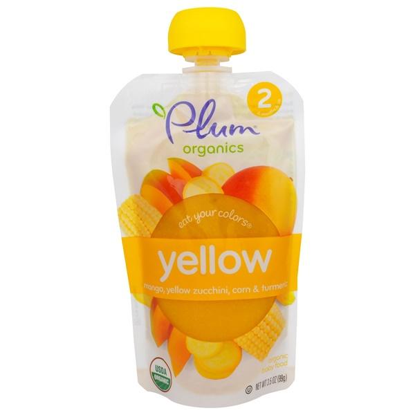 Plum Organics, Stage 2, Eat Your Colors, Mango, Yellow Zucchini, Corn & Turmeric, 3.5 oz (99 g) (Discontinued Item)
