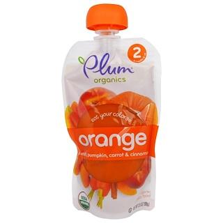 Plum Organics, イート・ユア・カラー、オレンジ:桃、かぼちゃ、ニンジン、シナモン、99g