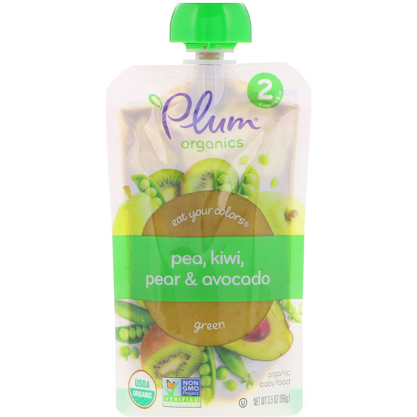 Plum Organics, Stage 2, Eat Your Colors, Green, Pea, Kiwi, Pear & Avocado, 3.5 oz (99 g) (Discontinued Item)