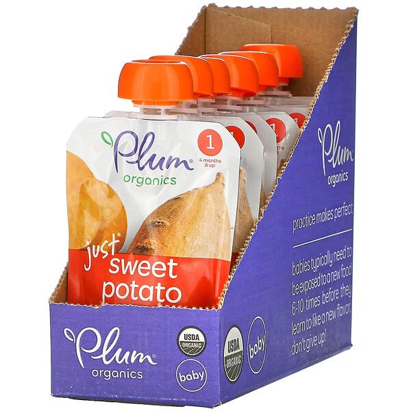 Plum Organics, Organic Baby Food, 4 Months & Up, Just Sweet Potato, 6 Pouches, 3 oz (85 g) Each