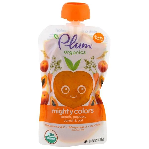 Plum Organics, Tots, Mighty Colors, Оранжевый, Персик, Папайя, морковь и овес, 3,5 унции (99 г) (Discontinued Item)