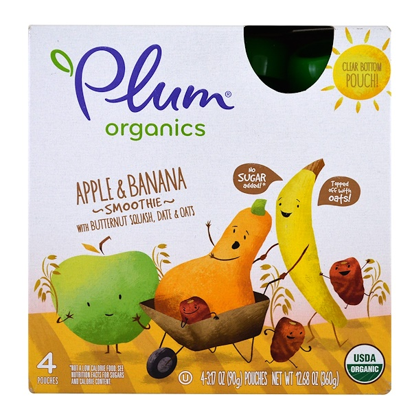 Plum Organics, Smoothie, Apple & Banana, Butternut Squash, Date & Oats, 4 Pack-3.17 oz (90 g) Each (Discontinued Item)