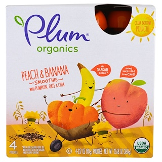 Plum Organics, スムージー、ピーチ&バナナ、カボチャ、オート&チア、各3.17 oz (90 g)
