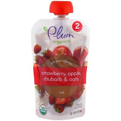 Plum Organics Eat Your Colors,紅色,草莓,蘋果,大黃和燕麥,3.5盎司(99克)