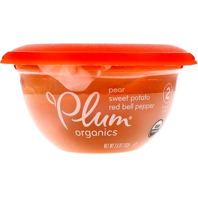 Plum Organics 嬰兒碗,第2階段,梨、紅薯、紅甜椒,3.6盎司(102克)