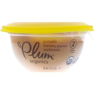 Plum Organics, ベビーボウル、ステージ2、カボチャ、バナナ、パパイヤ & カルダモン、 3.6 oz (102 g)