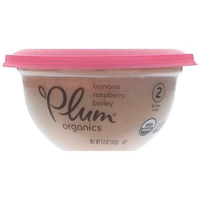 Plum Organics 嬰兒碗裝餐,第2階段,香蕉、覆盆子和大麥,3.6盎司(102克)