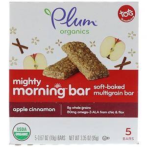 Плам Органикс, Mighty Morning Bar, Tots, Apple Cinnamon, 5 Bars, 0.67 oz (19 g) Each отзывы