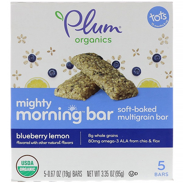 Plum Organics, Mighty Morning Bar, Niños,  Limón y arándano azul, 5 barras, 0,67 oz (19 g) c/u (Discontinued Item)