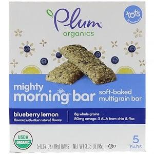 Плам Органикс, Mighty Morning Bar, Tots,  Blueberry Lemon, 5 Bars, 0.67 oz (19 g) Each отзывы