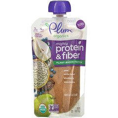 Plum Organics, Mighty Protein & Fiber, Tots,  Pear, White Bean, Blueberry, Date & Chia, 4 oz (113 g)