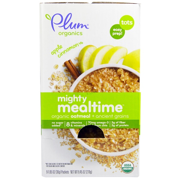 Plum Organics, Mighty Mealtime, Organic Oatmeal + Ancient Grains, Apple Cinnamon, 9 Packets, 1.05 oz (30 g) Each (Discontinued Item)