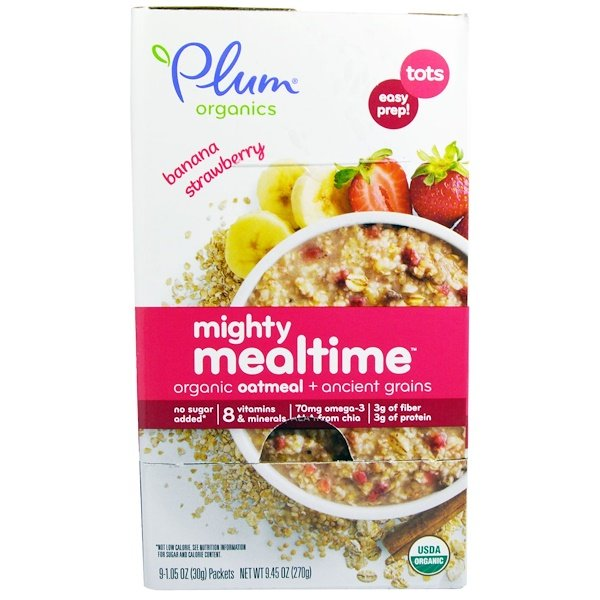Plum Organics, Mighty Mealtime, Organic Oatmeal + Ancient Grains, Tots, Banana Strawberry, 9 Packets, 1.05 oz (30 g) Each (Discontinued Item)