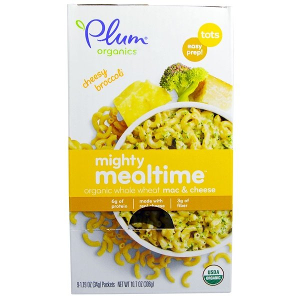 Plum Organics, Might Mealtime, Organic Whole Wheat Mac & Cheese, Tots, Cheesy Broccoli, 9 Packets, 1.19 oz (34 g) Each (Discontinued Item)