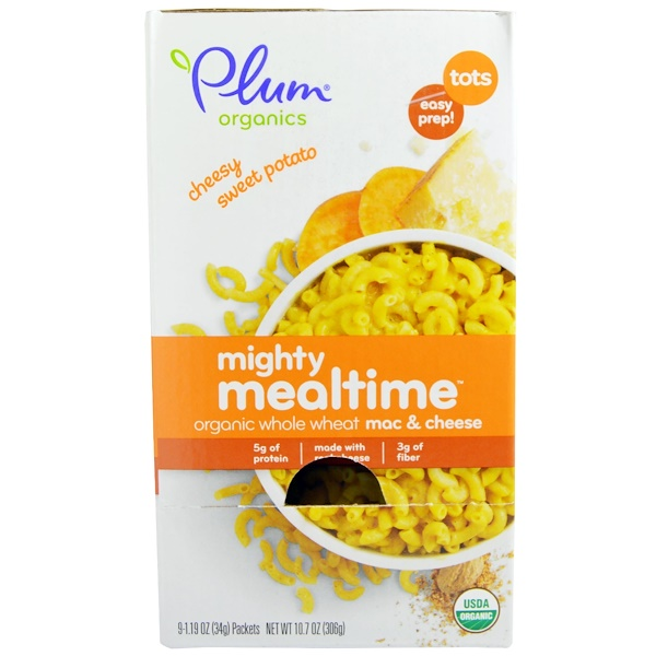 Plum Organics, Mighty Mealtime, Organic Whole Wheat Mac & Cheese, Cheesy Sweet Potato, 9 Packets, 1.19 oz (34 g) Each (Discontinued Item)