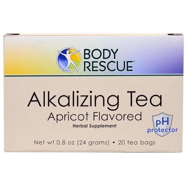 Peelu, Body Rescue, Alkalizing Tea, Apricot Flavored, 20 Tea Bags, 0.8 oz (24 g) (Discontinued Item)