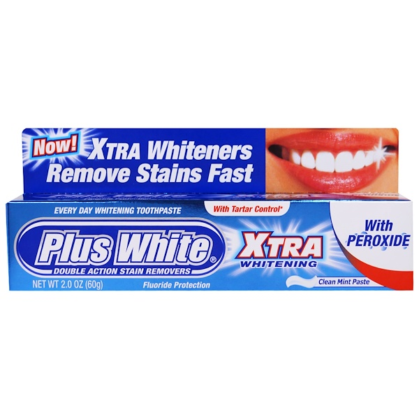 Plus White, Xtra Whitening with Peroxide, Clean Mint Paste, 2.0 oz (60 g)