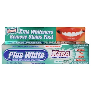 Plus White, Xtra Whitening with Tartar Control, Cool Mint Gel, 3.5 oz (100 g)