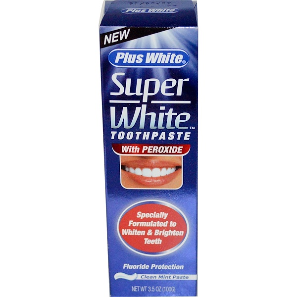 Plus White, Super White Toothpaste with Peroxide, Clean Mint Paste, 3.5 oz (100 g) (Discontinued Item)