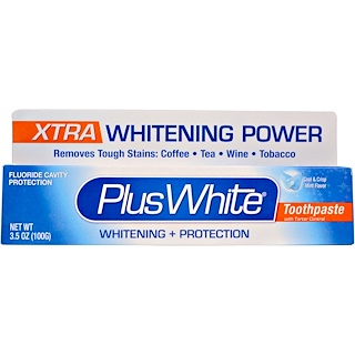 Plus White, Xtra Plus White Toothpaste with Tartar Control, Cool & Crisp Mint Flavor, 3.5 oz (100 g)