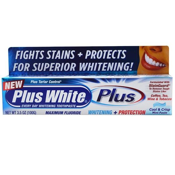 Plus White, Plus, Whitening + Protection, Cool & Crisp Mint Paste, 3.5 oz (100 g) (Discontinued Item)