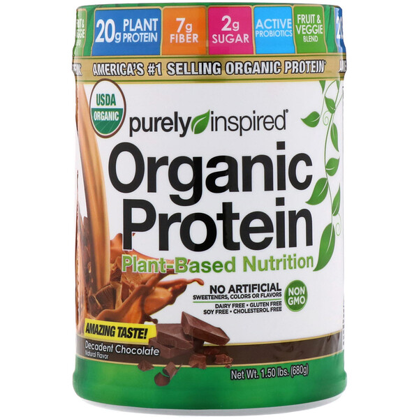 Organic Protein, Plant-Based Nutrition, Decadent Chocolate, 1.5 lbs (680 g)