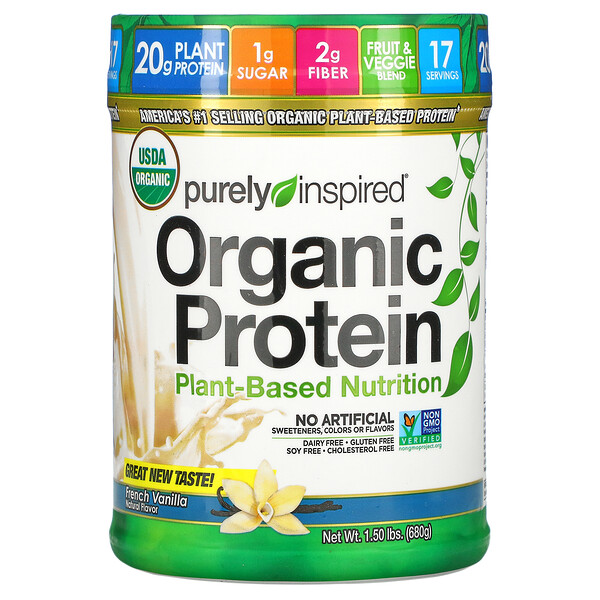 Organic Protein, Plant-Based Nutrition, French Vanilla, 1.50 lbs (680 g)