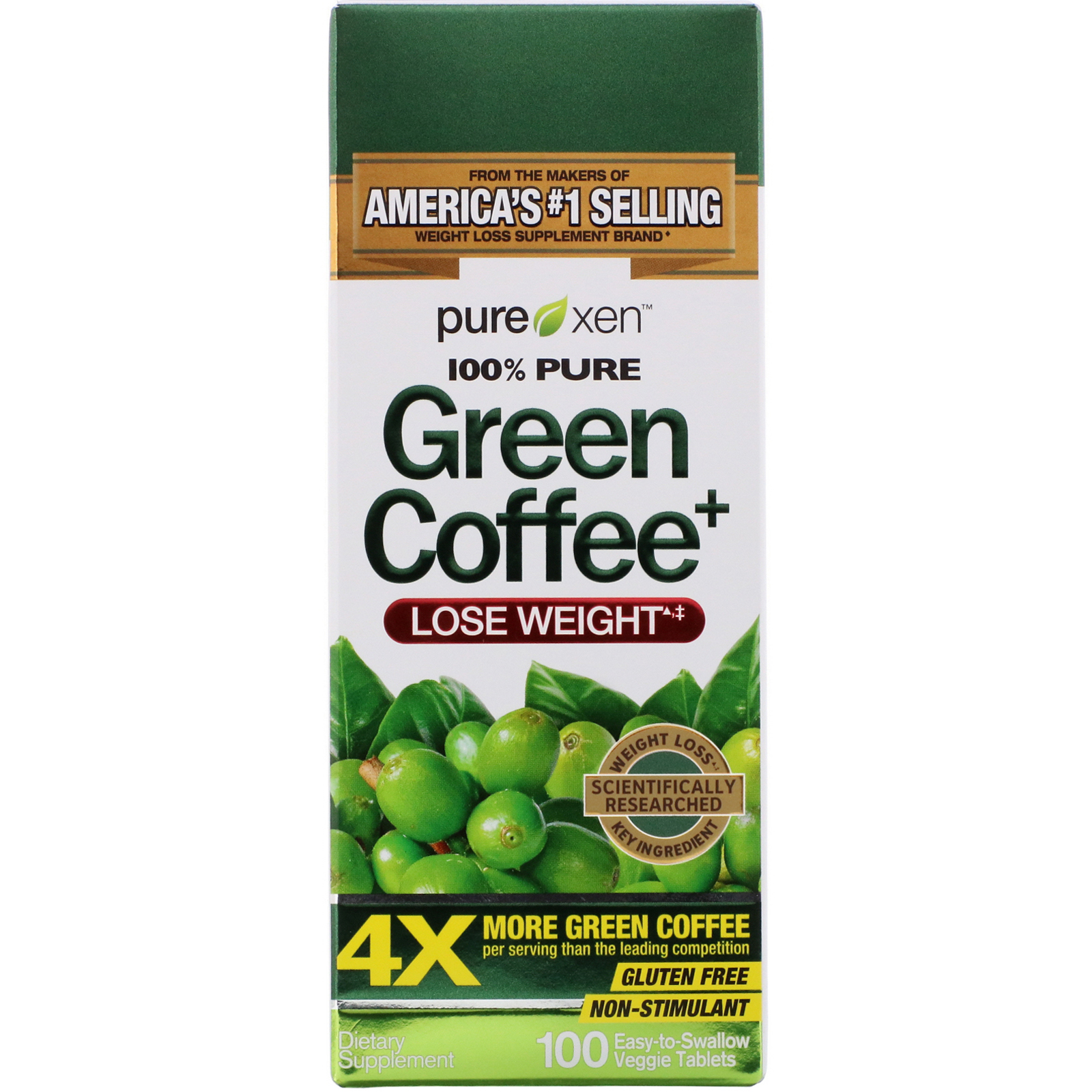 Purely Inspired Green Coffee 100 Easy To Swallow Veggie Tablets