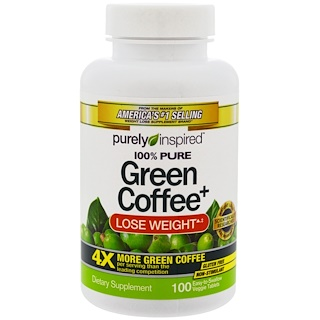 Purely Inspired, Green Coffee+, 100 tabletas vegetarianas
