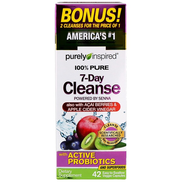 100% Pure 7-Day Cleanse, 42 Easy-to-Swallow Veggie Capsules