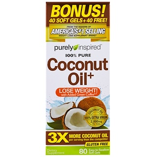Purely Inspired, Coconut Oil+, 80 Easy-to-Swallow Soft Gels