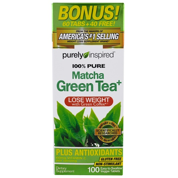 Purely Inspired, Pure Matcha Green Tea+, 100 Easy-to-Swallow Veggie Tablets (Discontinued Item)