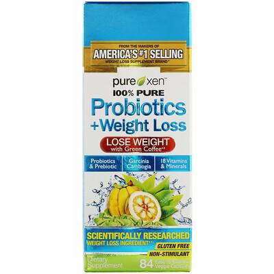 Probiotics + Weight Loss, пробиотики и средство для снижения веса, 84легко проглатываемые вегетарианские капсулы