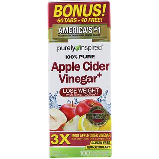 Purely Inspired, яблочный уксус+, 100растительных таблеток, которые легко глотать
