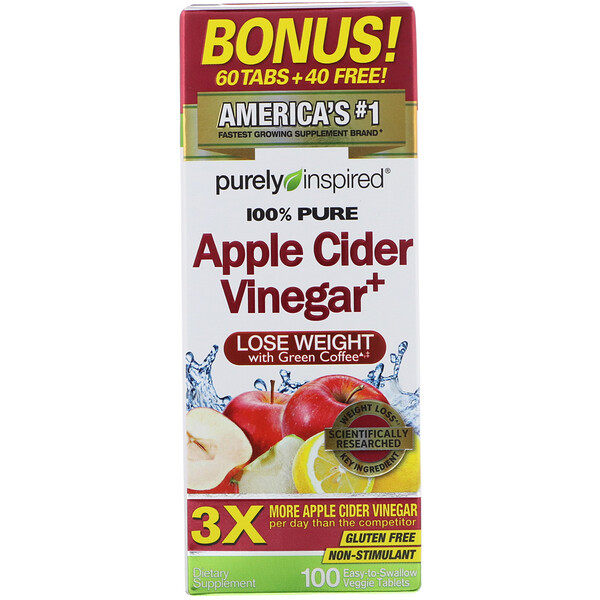Apple Cider Vinegar+, 100 Easy-to-Swallow Veggie Tablets