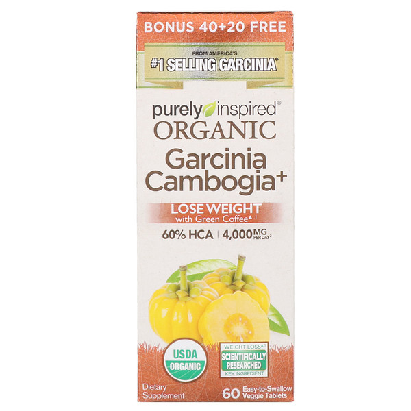 Purely Inspired, Organic Garcinia Cambogia +, 60 Easy-to-Swallow Veggie Tablets