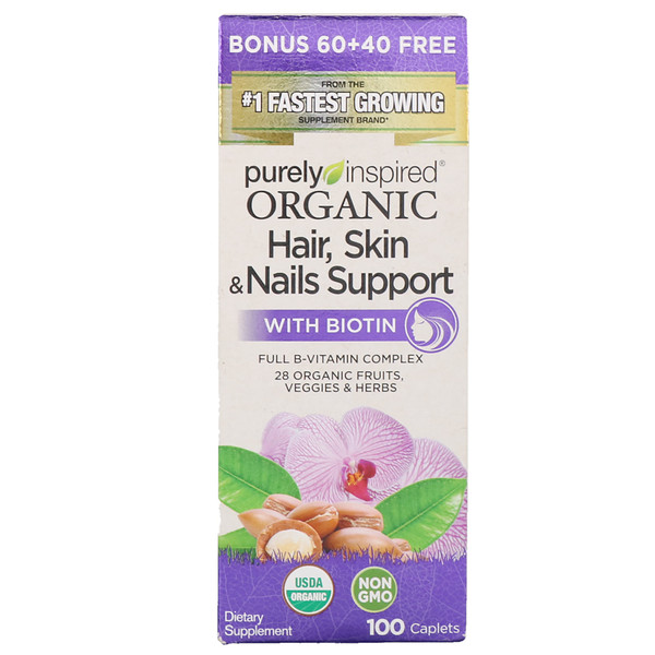Purely Inspired, Organic Hair, Skin & Nails Support with Biotin, 100 Caplets (Discontinued Item)