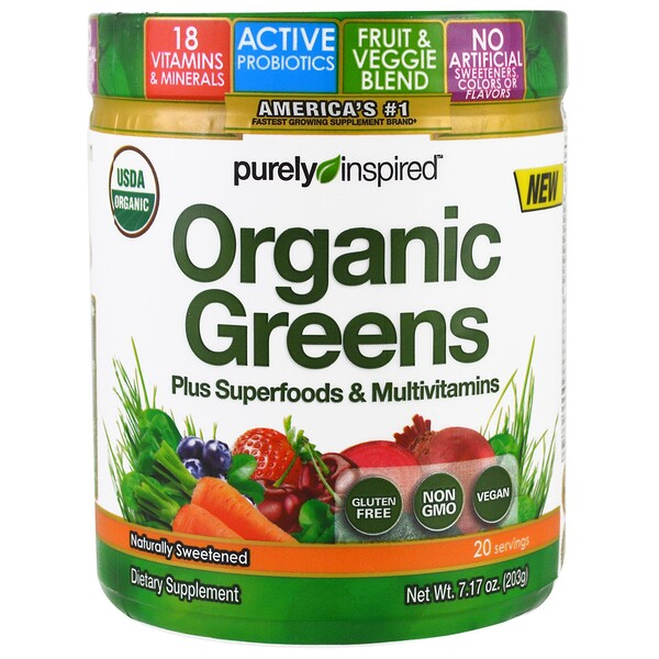 Purely Inspired, Organic Greens, Sem Sabor, 203 g (7,17 oz)