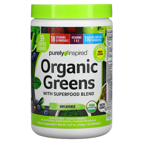 Organic Greens with Superfood Blend, Unflavored, 8.57 oz (243 g)